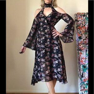 Nicholas Silk Cold Shoulder Dress